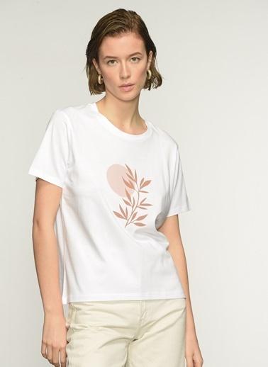 People By Fabrika PFKAW21TS0015  Baskılı Tişört Beyaz